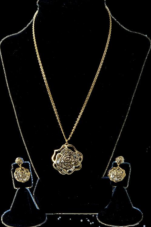Gold Flower Swarovski Set