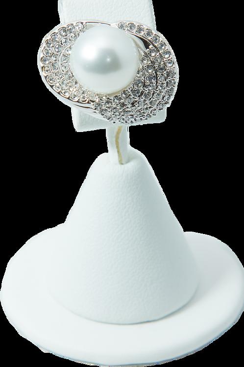 Pearl Diamond Silver Ring