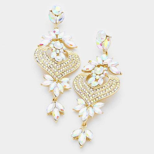 Floral Petal Rainbow Crystal Earrings