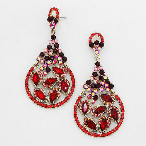 Red Crystal Moon Leaf Earrings
