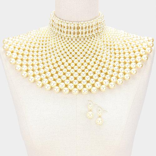 Ivory Cleopatra Pearl Bib Chain