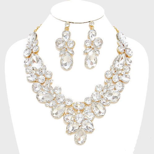 Gold Floral Crystal Necklace