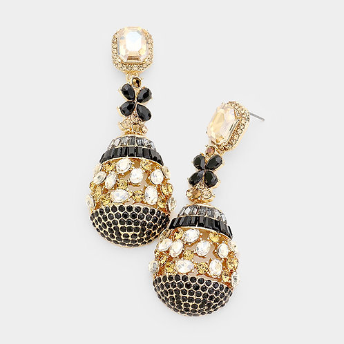 Topaz Egg Drop Diamond Earrings