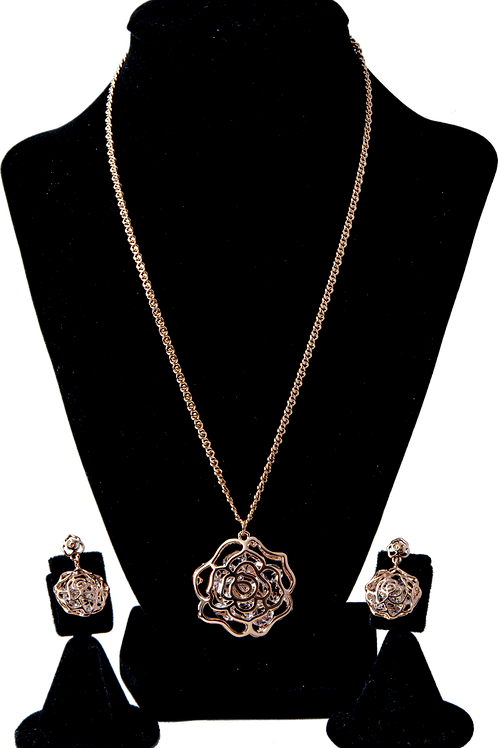 Rose Gold Flower Swarovski Set