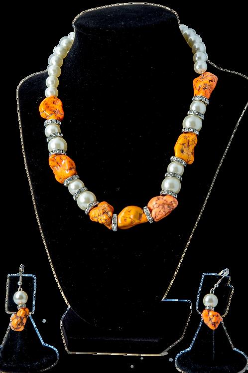 Simi-Precious Orange Bead Set