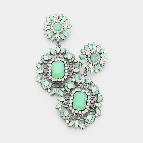 Mint Daisy Drop Earrings