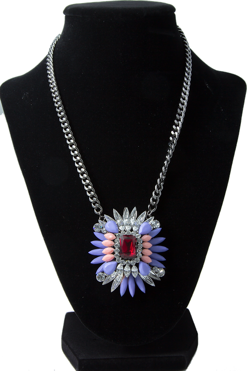 Red Cluster Pendant Necklace