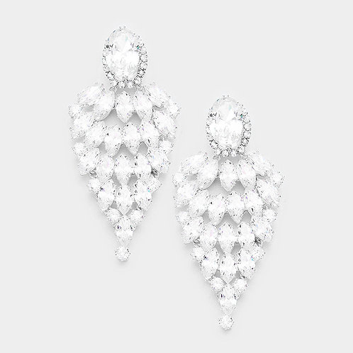 Silver Marquise Evening Earrings