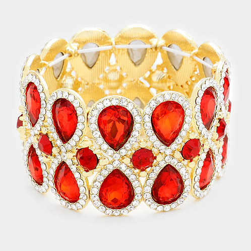 Red Diamond Teardrop Bracelet