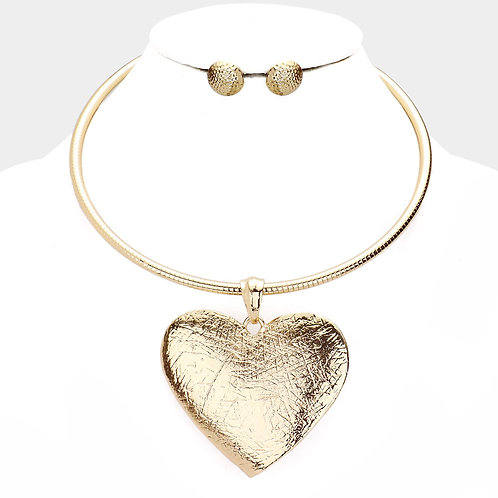 Gold Heart Omega Necklace
