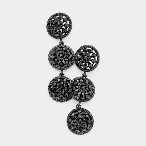Jet Black Rosette Evening Earrings