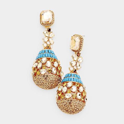Turquoise Egg Drop Diamond Earrings