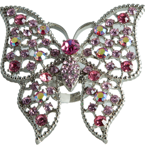 Pink butterfly cocktail ring