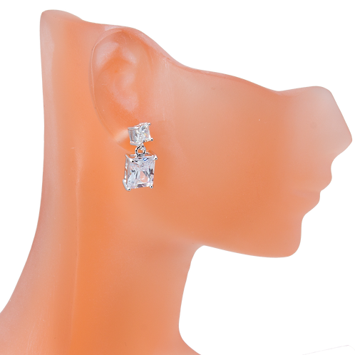 Silver Cubic Zirconia Square Earrings