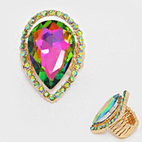 Crystal Tear Drop Ring
