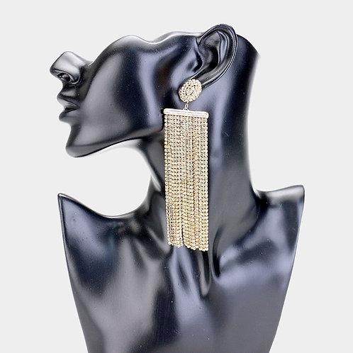 Gold Diamond Tassel Earrings