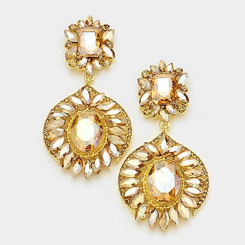Topaz Crystal Evening Earrings
