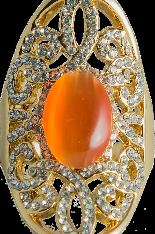 Gold & Orange Cat eye ring