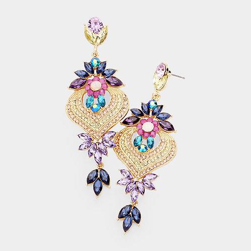 Floral Petal Multi Color Crystal Earrings