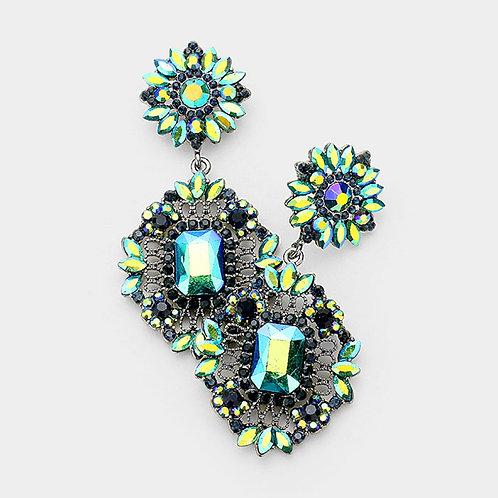 Green Daisy Drop Earrings