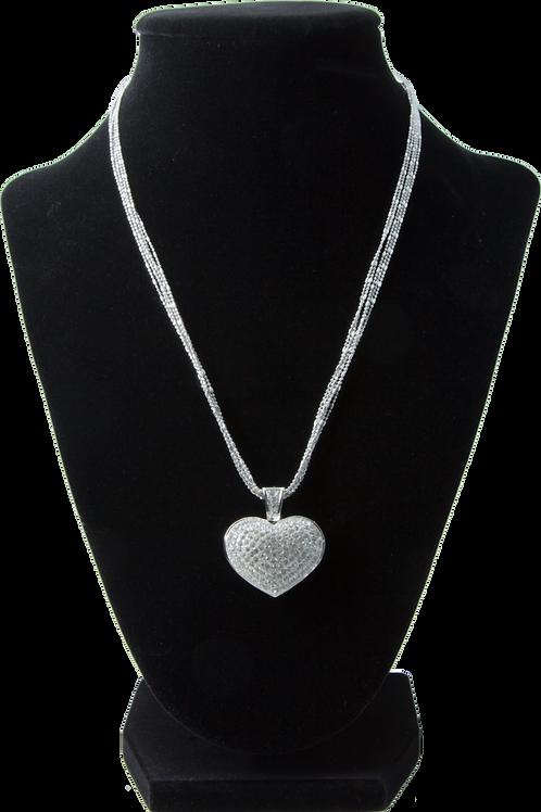 Silver Diamond Heart Pendant Necklace