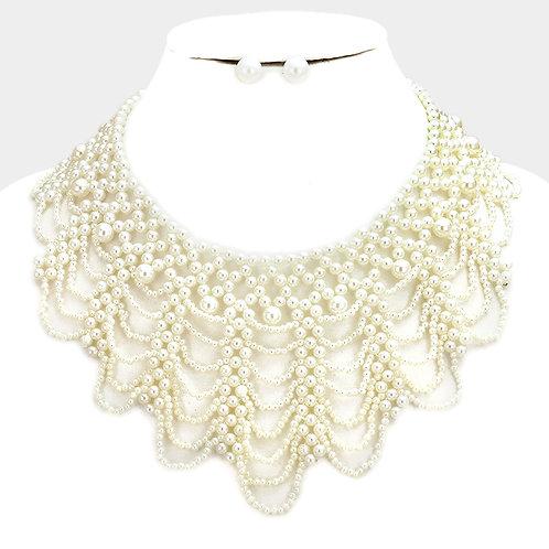 Elegant Draped Pearl Bib Necklace