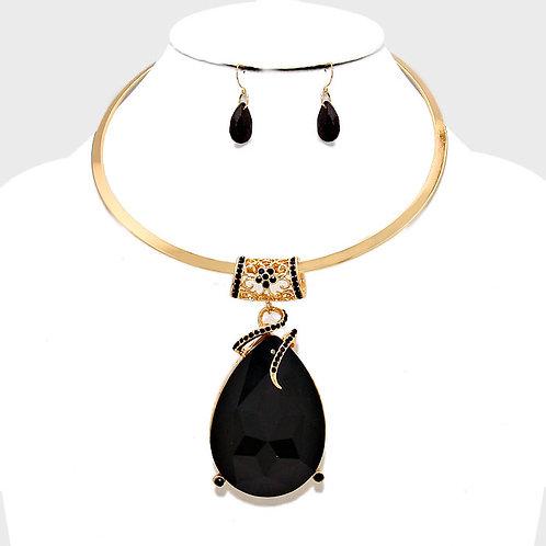 Black Tear Drop Necklace