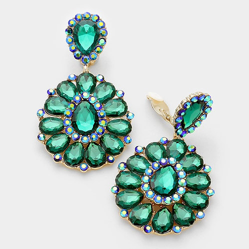 Green Crystal Rhinestone Earrings