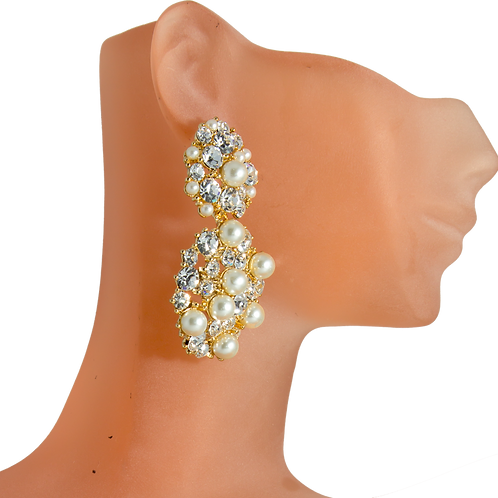 Crystallized Gold-tone & Pearl Earrings