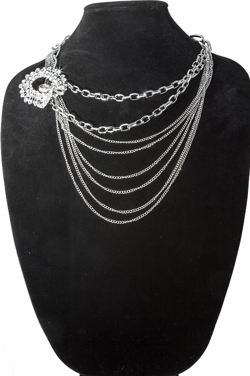 Silver Link Chain Flower Chain