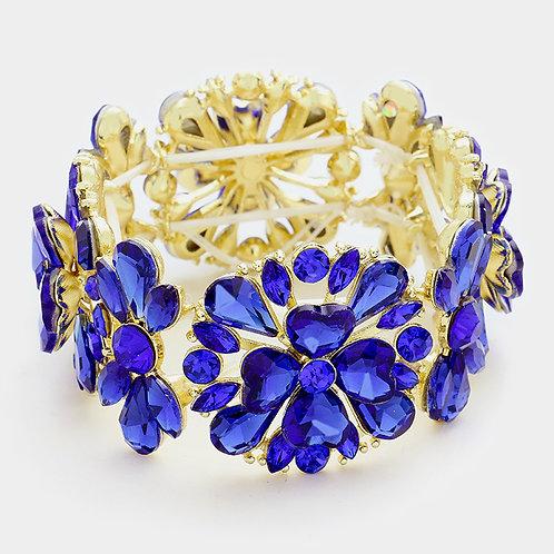 Royal Blue Flower Stretch Bracelet