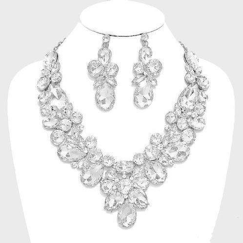 Silver Floral Crystal Necklace