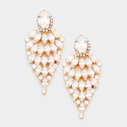 Rose Gold Marquise Evening Earrings