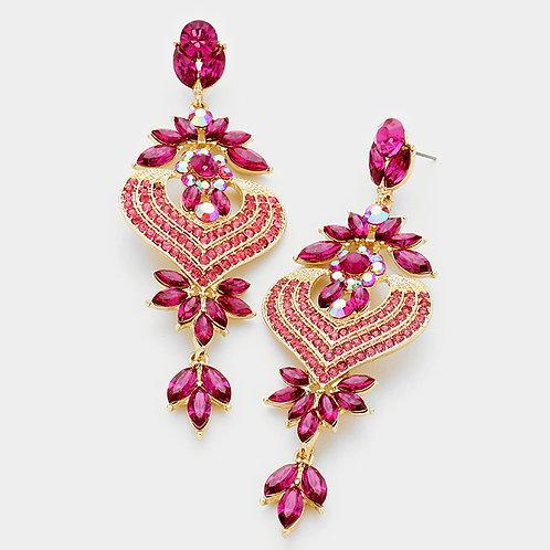 Fuchsia Petal Heart Crystal Earrings