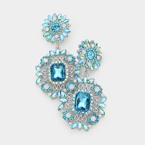 Aqua Daisy Drop Earrings