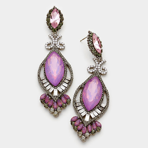 Crystal Glass Marquise Earrings