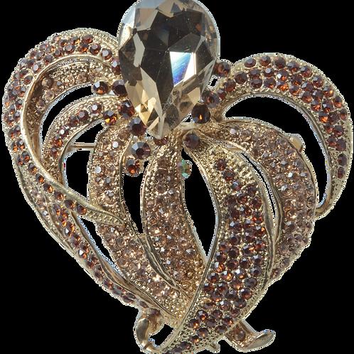 Brown Swarovski crystal brootch
