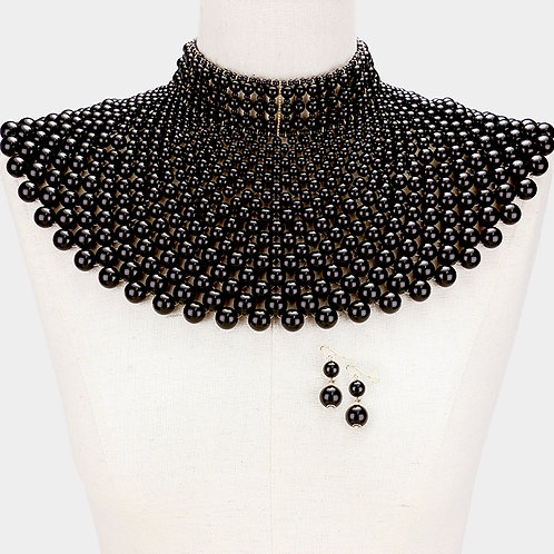 Black Cleopatra Bib Necklace