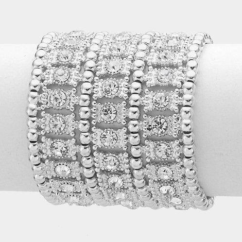 3 Row Crystal metal stretch bracelet