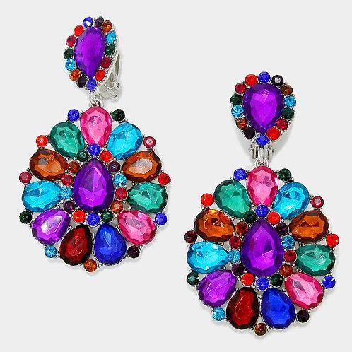 Multi Color Crystal Tear Drop Earrings