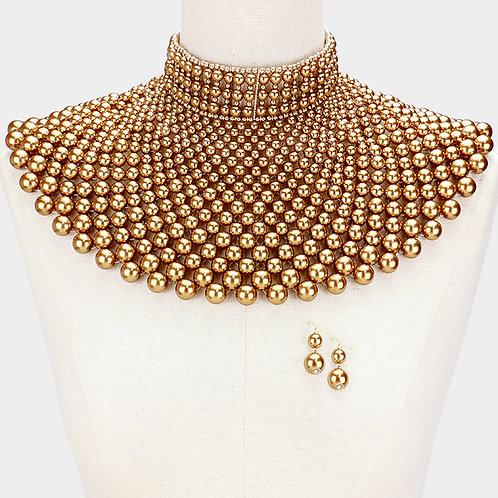 Gold Cleopatra Pearl Bib Chain