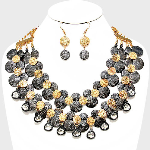 Hammered Metal Collar Necklace