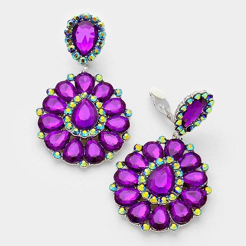 Purple Crystal Rhinestone Teardrop Earrings