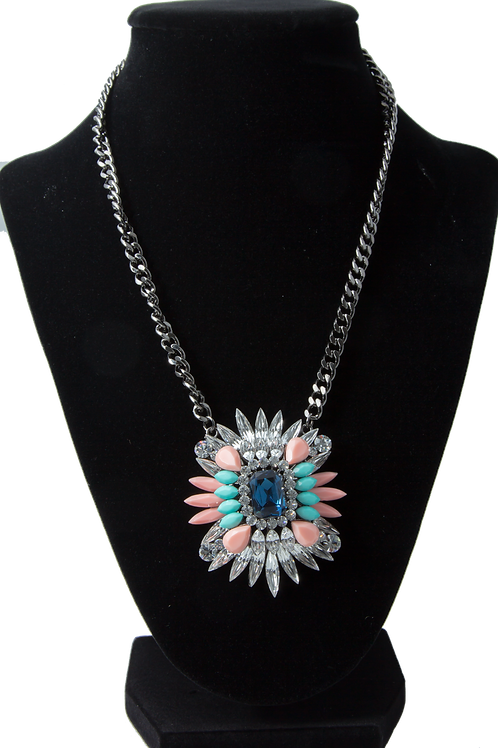Aqua Cluster Pendant Necklace