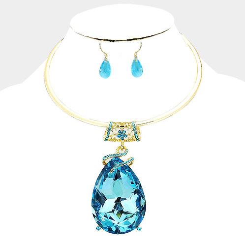 Aqua Tear Drop Necklace