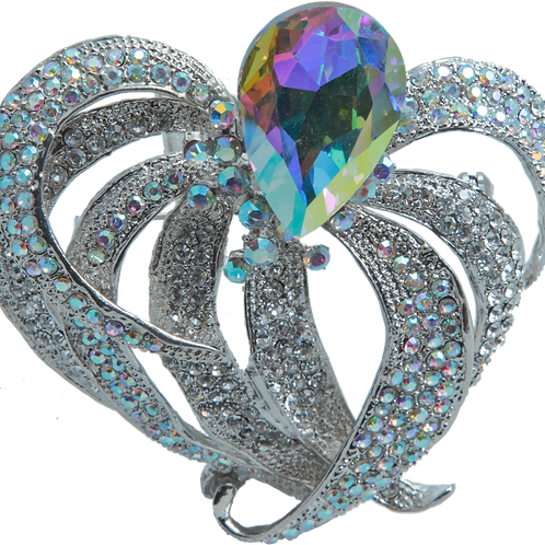 Rainbow Crystal Brooch