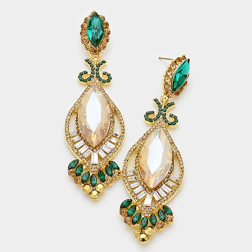 Empire Emerald Diamond Drop Earrings