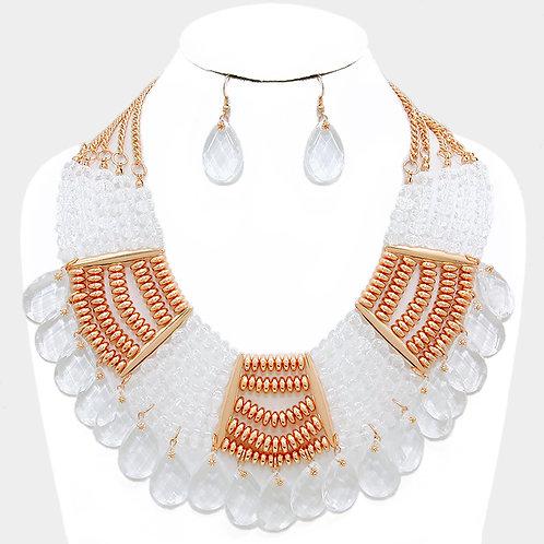 WhiteTeardrop Beaded Necklace