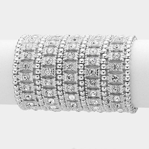 Wide Crystal Metal Stretch Bracelet