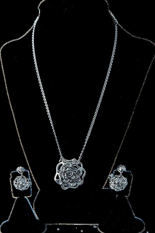 Silver Flower Swarovski Set
